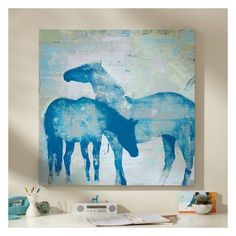 PB Teen Horses Wall Art, 36'' x 36'' at Pottery Barn Teen - Teen... ($299) ❤ liked on Polyvore featuring home, home decor, wall art, home wall decor, mounted wall art, interior wall decor and horse wall art