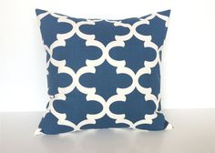 Blue Quatrefoil Throw Pillow Cover. 16 X 16 by thebluebirdshop, $17.00