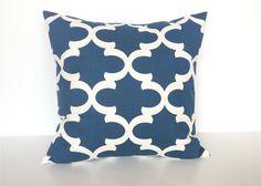 Blue Quatrefoil Throw Pillow Cover. 16 X 16 by thebluebirdshop, $17.00