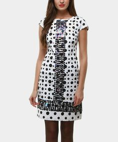 Take a look at this White & Black Polka Dot Triana Cap-Sleeve Dress by Almatrichi on @zulily today!