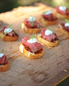 Cocktail HourCocktail-hour bites included beef carpaccio with sun-dried tomatoes, creme fraiche, and basil on toasted French bread.