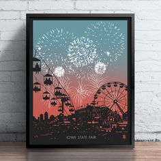 This print has everything, the fair, fireworks, and even a Ferris wheel! It will bring just as much excitement to your walls as the fair itself! Small Canvas Art, Mini Canvas Art, Fireworks Art, Cool Art Drawings, Watercolor Paintings, Watercolor Mandala, Iowa State, Chicago Lake, Painting Art