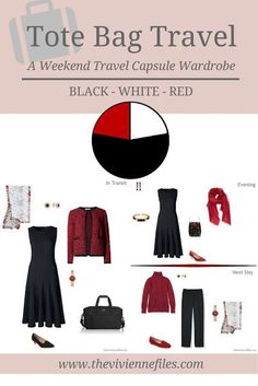 Tote Bag Travel in Black, White and Red