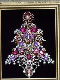 Vintage Pink Purple Rhinestone Jewelry Christmas Tree Framed Art | eBay