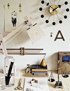 Love the black and gold atomic clock, and the golden pear.