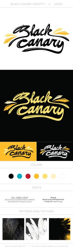 Black Canary Logo Design – Part 1 of a personal project: branding for Arrow's Black Canary. Gill Sans, Arrow Black Canary, 1 Logo, Black Slacks, Identity, Logo Design, Branding, Black Trousers, Black Pants