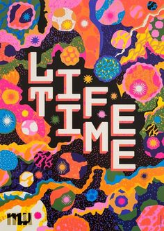 For the Life Time exhibition at MU Artspace I created an organic campaign image showing cells, nucleus and organic connections. The poster was printed in a mix of fluorescent colours. Mexican Graphic Design, Mexican Designs, Graphic Design Typography, Typography Poster, Fluorescent Colors, Design Poster, Poster S, Branding, Organic Shapes