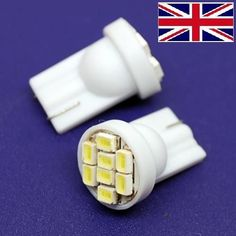 2 x T10 8 SMD LED Super Bright Flush Mount Sidelight Wedge Bulbs W5W 501 White