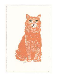 Scruffy Orange Cat Linoprint by LaurajeanLaurajean
