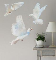 Wall Decals Flying Doves, Bird Sticker, Doves, Wedding Decor, Nursery Decor, Watercolor Fabric Wall Sticker (Not Vinyl),  Birds Decals