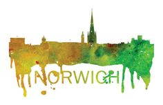 Norwich Art, Norwich Skyline, Norwich map, Norwich skyline, Norwich map print  A beautiful Watercolor Art print of Norwich, United Kingdom. Perfect for an office or a gift to one of your friends. This is one vacation you do not want to miss! :::Print Details::: * Prints are printed with high quality ink on high quality paper (100lb). *Posters includes 1/8in bleed (border) around poster * Colors may vary slightly based on your computer monitor settings. * Frame and matte are not included... Cityscape Art, Poster Colour, Watercolor Art, United Kingdom, Monitor, Cities, Skyline, Just For You, Posters