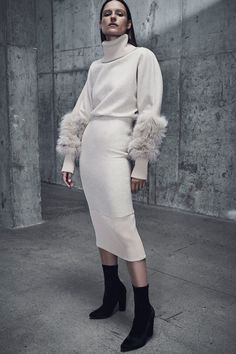 Winter cream outfit - rolllneck with fur sleeves, midi pencil skirt and sock boots Sally LaPointe Pre-Fall 2018 collection #brandnew...x