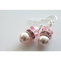 Swarovski Crystal Pearls Earrings, Bicone Beads, Rhinestone Spacers,... ($17) ❤ liked on Polyvore featuring jewelry, earrings, rhinestone earrings, pearl jewelry, white pearl earrings, beading earrings and sterling silver earrings