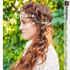 "Gorgeous bohemian braided bridal hairstyle from Philly Hair featuring our ""Chrissy"" bridal hair vine."