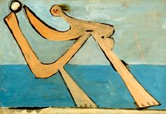 Beach scene in Dinard, Brittany. by Pablo Picasso
