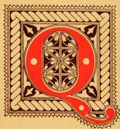 """1921 Art Nouveau initial cap for the letter """"Q"""""""