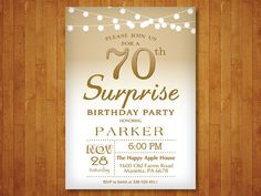 Surprise 70th Birthday Invitation. Gold and by happyappleprinting