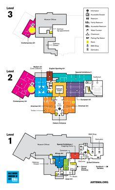 2015 BMA Floorplan Building Design Plan, Building Map, Museum Exhibition Design, Design Museum, Wayfinding Signage, Signage Design, Museum Architecture, Conceptual Architecture, Directory Design