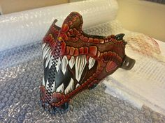 Wanna scare the crap outta people while riding? Wear this snarling dragon leather mask. Custom Dragon Style Motorcycle Riding Mask by elvaqueromuerto.that would be an awesome muzzle design for my boxer Leather Mask, Leather Cuffs, Lambskin Leather, Leather Tooling, Mascara Oni, Biker Mask, Rose Face Mask, Face Masks, Leather Projects