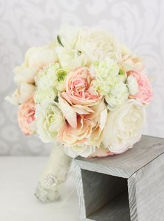 Silk Bride Bouquet Peony Flowers Pink Cream Spring by braggingbags, $99.00