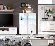 Wohnzimmer led ~ Highboard in weiß hochglanz glas led beleuchtung jetzt bestellen