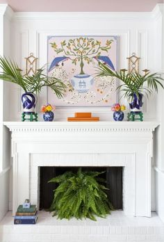 Plant inside fireplace in summer months