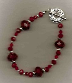 Marooned  Red Crystal Beaded Bracelet by sunniescustomjewelry, $15.00