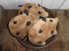 3 Primitive Grungy Ghost Ornies Bowl Fillers Tuck Halloween Handmade #NaivePrimitive #Handmade