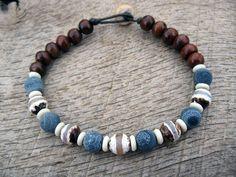 wood and blue bracelet