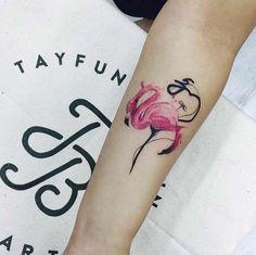 Watercolor Flamingo Tattoo by Tayfun Bezgin