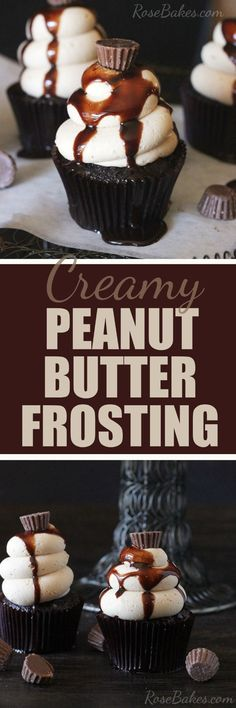 Creamy Peanut Butter Frosting by Rose Bakes (cake decorating frosting buttercream roses) Homemade Frosting, Frosting Recipes, Cupcake Recipes, Dessert Recipes, Dessert Ideas, Cake Decorating Frosting, Cupcake Frosting, Cupcake Cakes, Bundt Cakes