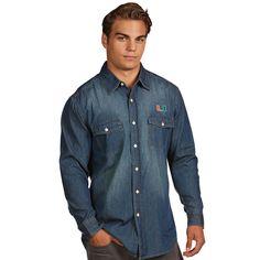 Miami Hurricanes Antigua Dark Chambray Long Sleeve Button-Up Shirt - Blue - $59.99