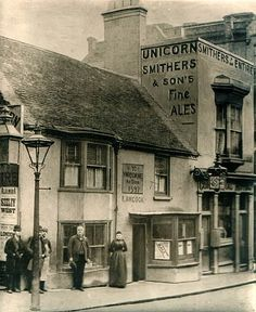 The Unicorn Inn in Brighton, late 1800's - advertisements were painted on the walls of the buildings rather than on specially constructed billboards in many cases