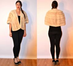 1950s sz medium / large blonde mink fur stole fur cape // USA MADE #FAUXYFURRVTG