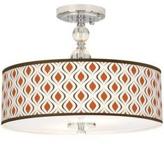"Retro Lattice Giclee 16"" Wide Semi-Flush Ceiling Light -"