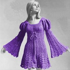 Crochet Dress Pattern Vintage -Crochet Juliet Dress-Crochet Tunic-Boho Dress Pattern-Plus Size Dress Available-Bohemian Clothing-PDF Crochet Tunic, Crochet Clothes, Crochet Dresses, Crochet Tops, Free Crochet, Vintage Crochet Patterns, 1970s Dresses, Pullover, The Dress
