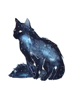 Galaxy Cat by ThreeLeaves. on - Galaxy Cat by ThreeLeaves. Warrior Cats, Fantasy Creatures, Mythical Creatures, Art Galaxie, Animal Drawings, Art Drawings, Galaxy Drawings, Drawing Animals, Galaxy Cat