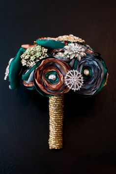 fabric flower and brooch bouquet - Really Bad Kitty Boutique #weddingbouquets