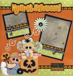 1st HALLOWEEN baby girl 2 premade scrapbook pages 4 album paper piecing ~ CHERRY | eBay