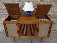 """Credenza stereo. I blew the speakers out playing Pat Benatar's """"Crimes of Passion"""" CP"""