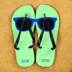 Bright fun Wayfarer Sunglasses Design Personalised Flip flops