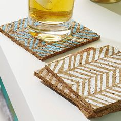 Cork Coasters: Prevent water rings and add a style all at the same time with DIY cork coasters. Cut 4x4-inch squares from thin cork. Cut a simple herringbone pattern from stencil acetate. Press the stencil onto a cork square and apply acrylic paint.
