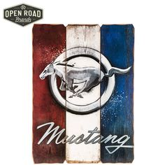 Ford Mustang Red White & Blue Striped Wood Wall Decor⎢Open Road Brands
