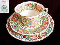 I would love to see this mixed with some reds. Antique Hammersley bone china trio.