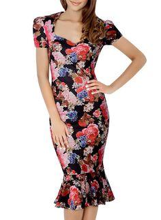 Miusol Damen Elegant Karree-Ausschnitt Puffaermeln Patterned Kleid Fishtail Rock…
