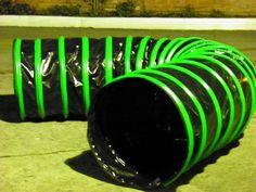Túnel Negro de 6m de largo con aros Verdes