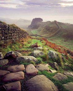 Autumn at Hadrian's Wall, on the English/Scottish border. Hadrian's Wall was built, beginning in 122, to keep Roman Britain safe from hostile attacks from the Picts. It was the northernmost boundary of the Roman empire until early in the fifth century