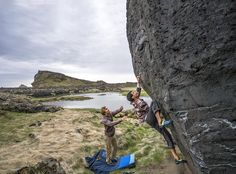 Chris and Paul bouldering in Iceland.
