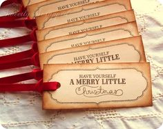 Have yourself a Merry little Christmas Hang Tags, Red Ribbon, Vintage Inspired 10. $5.50, via Etsy.