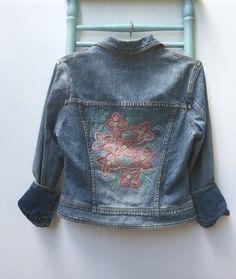 embroidered denim jacket red floral flowers jean jacket ombre floral flower jean jacket medium denim jacket boho hippie jacket vintage denim by savingmyvintageheart on Etsy